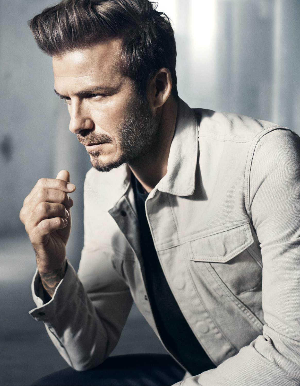 David Beckham shows off his muscles as he models new fashion David beckham model photos