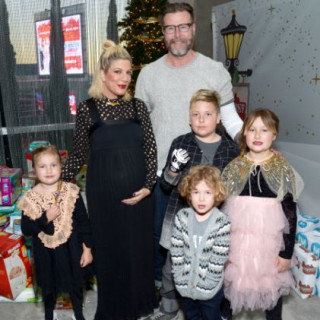 See Pregnant Tori Spelling And Her Family at LA Family Housing