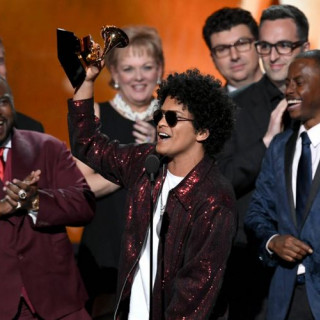 Bruno Mars Had To Get Up 7 Times At The Grammys