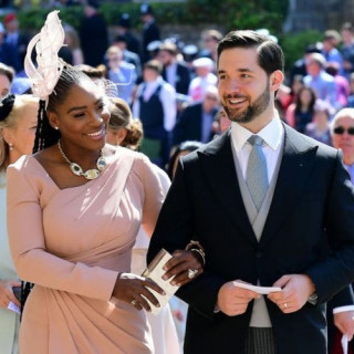 Serena Williams with her husband at the wedding of Meghan Markle and Prince Harry