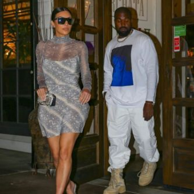 Kim Kardashian in a transparent dress went on a date with her husband