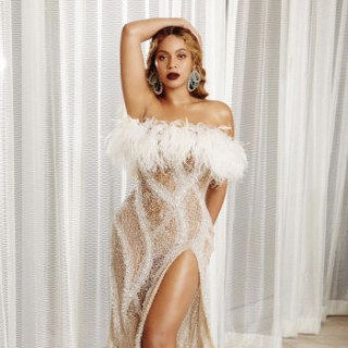 Beyonce wore a shiny dress from Roberto Cavalli