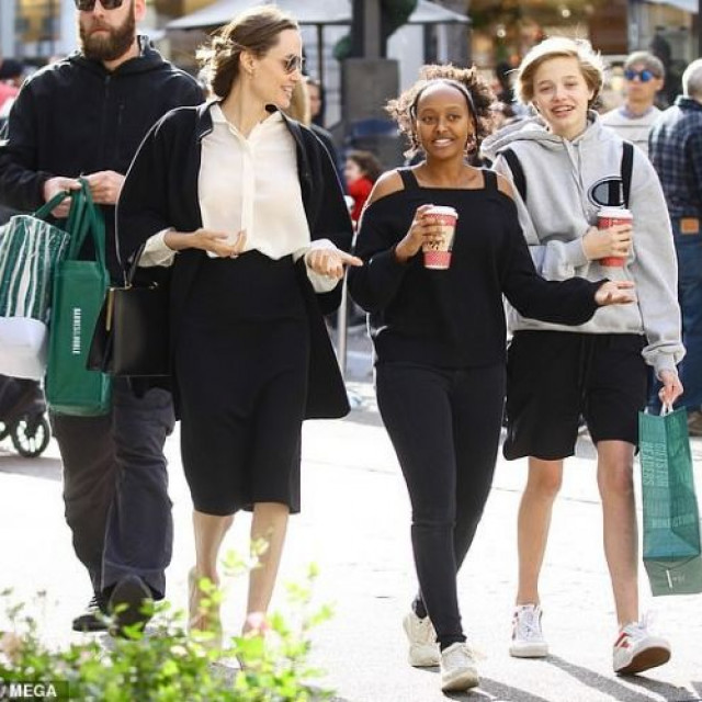 Angelina Jolie shopping with her transgender daughter