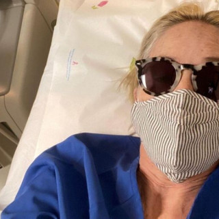 62-year-old Sharon Stone showed a photo from the hospital